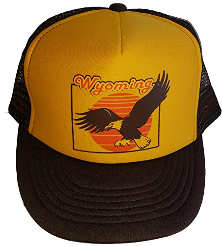 Wyoming Eagle Mesh Trucker Hat Cap Snapback Brown Gold