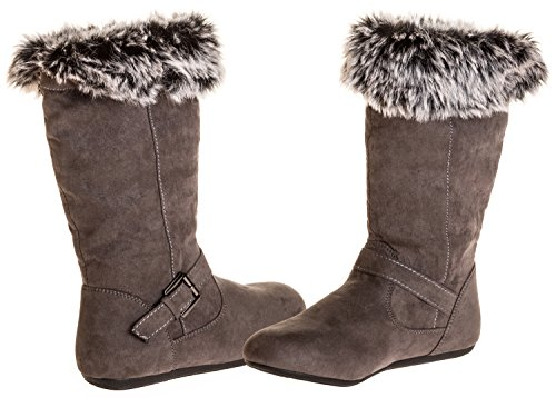 Sara Z Girls Microsuede Boots With Fur Lining (Grey), Size 2-3