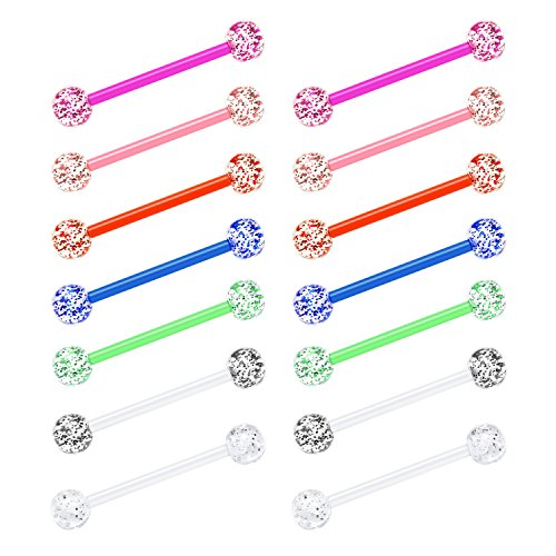 JFORYOU 14G Tongue Rings Nipplerings Stainless Steel Barbell Bio-Flex Comfortable Barbell Ring Body Piercing Jewelry (Sparkle Ball Pack, 16)