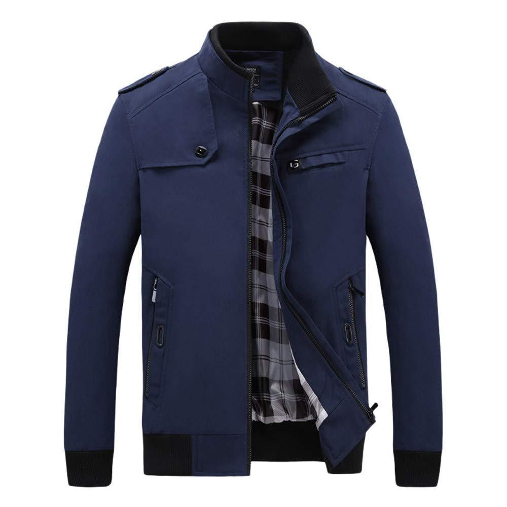 Men's Winter Coat Sale Fahion Long Sleeve Solid Zipper Washable Tooling Jacket