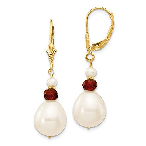 14k Yellow Gold Freshwater Cultured Pearl w Faceted Garnet Leverback Earrings 1.4IN x 0.3IN
