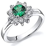 Ornate Floral 0.50 carats Simulated Emerald Ring in Sterling Silver Rhodium Nickel Finish Size 8