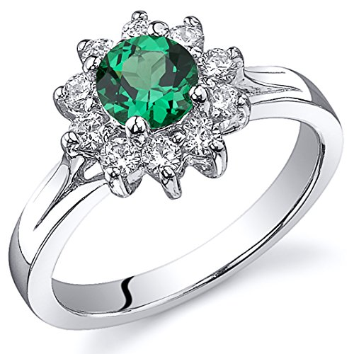 Ornate Floral 0.50 carats Simulated Emerald Ring in Sterling Silver Rhodium Nickel Finish Size 6