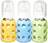 Lifefactory Glass Baby Bottle with Silicone Sleeve 4 Ounce - 3 Pack (Green/Ye...