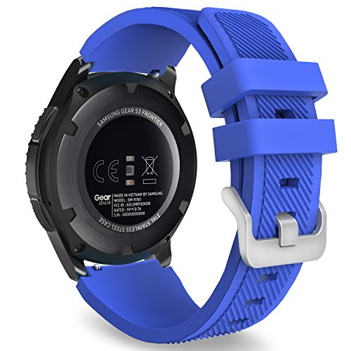 MoKo Gear S3 Frontier/Classic Watch Band, Soft Silicone Replacement Sport Strap for Samsung Gear S3 Frontier / S3 Classic/Galaxy Watch 46mm / Moto 360 2nd Gen 46mm Smart Watch, Royal Blue