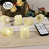 Flameless Candles with Remote and Timer - LED Tealights - Flameless Votive Candles - Unscented Outdoor Flickering Candles - Battery Operated 200 Hours - 6 set
