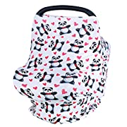 Losska Baby Car Seat Cover canopy nursing and breastfeeding cover (Red hearts and panda)