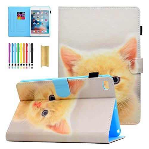 iPad Mini 4 Case, iPad Mini 3 Case, iPad Mini 1/2 Case, Casii Folio Slim Fit Cute Colorful Premium Leather Case Cover Flip Stand with Auto Sleep/Wake for Apple iPad Mini 1/2/3/4, Cute Cat