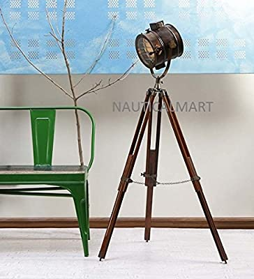 Nauticalmart Brown Antique Floor Standing Wooden Tripod Floor Lamp