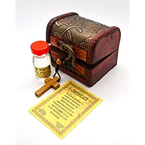 Catholic Jerusalem Holy Land olive wood cross Praying Beads Rosary with Glass bottle Holy water in Wooden and Leather Decorative Box