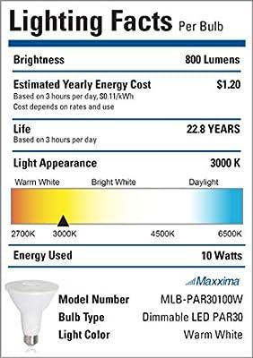 Maxxima PAR30 LED Indoor/Outdoor Warm White Light Bulb 800 Lumens 10 Watts 75 Watt Equivalent 3000K 90 CRI Dimmable Energy Star Flood Light (2 Pack)