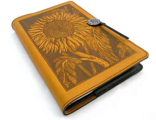 (Modern Artisans Sunflower American-Made Embossed Leather Writing Journal Cover, 6 x 9-inch + Refillable Hardbound Insert Book)