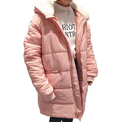 ZKOO Mujeres Falso Pelo De Cordero Algodón Chaqueta Invierno Encapuchado Abrigo Moda Estilo Quilted Chaqueta Color Sólido Rosa
