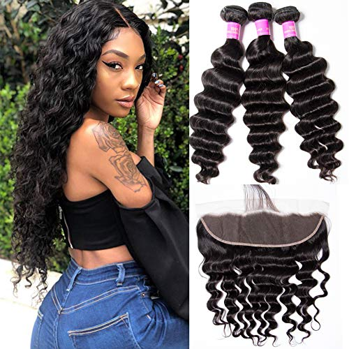 Star Show Brazilian Hair Loose Deep Wave Bundles with Frontal Closure 100 Human Hair Extensions 13x4 Lace Closure and Bundles 12 14 16 with 12 Inch Frontal Natural Color