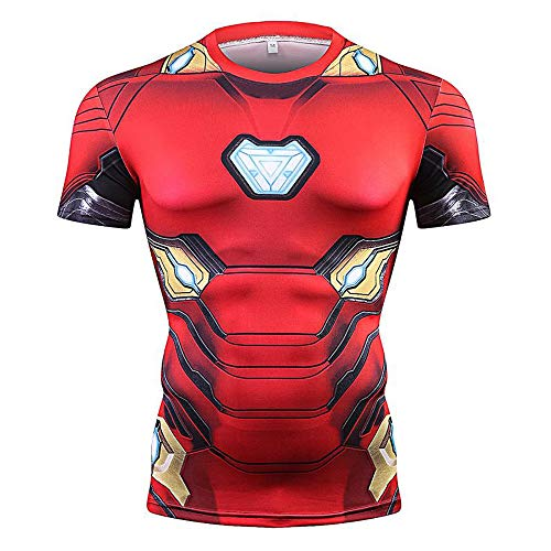 CoolMore Super Hero Compression T Shirts Short Sleeve Tops Tee for Men for Sports Gym Runing Base Layer Wearing (Iron Man 2, - Ironman T-shirt Tee