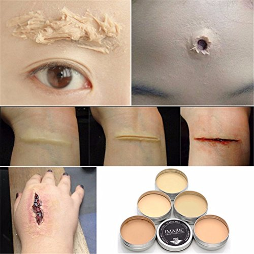 Special Effects Makeup Scars (Ochine Family Makeup Kit Halloween Makeup Scar Nude Color Wound Scar Makeup Wax Stage Body Painting (B3))