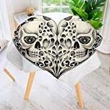 UHOO2018 Round Tablecloth-The Dead Decor Twin Half Fire Design in Hearts Festive Spanish Image Print Round Circular Solid Polyester Tablecloth 55'' Round