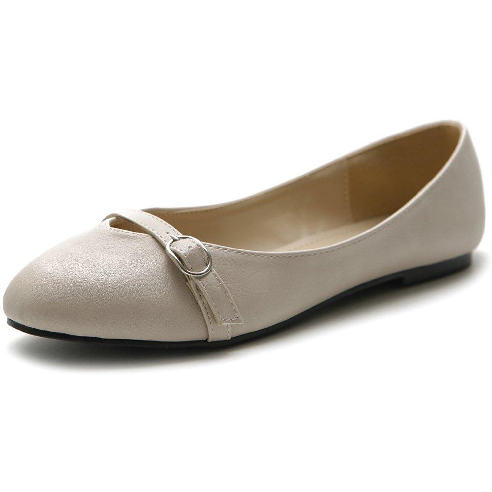 Ollio Women's Shoe Ballet Round Toe Mary Jane Flat