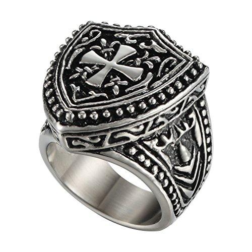 Men's Vintage Gothic Biker Celtic Cross Fleur De Lis Knights Templar Shield Stainless Steel Ring Band (11)
