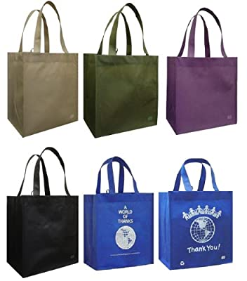 Reusable Grocery Tote Bag 6 Pack Combo by Duratech Group