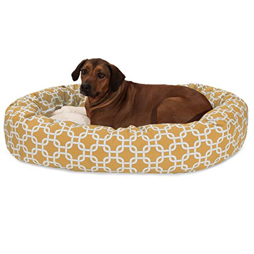 52 Inch Yellow Links Sherpa Bagel Dog Bed