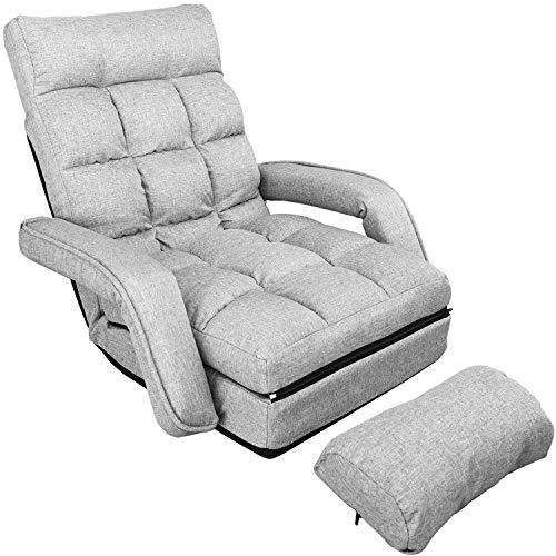 WAYTRIM Indoor Chaise Lounge Sofa, Folding Lazy Sofa Floor Chair 6-Position Folding Padded, Lounger Bed with Armrests and a Pillow Chaise Couch - Gray (Furniture Chaise Lounge Indoor)
