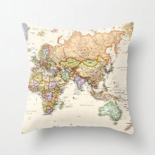 Map Atlas Pillow Australia Asia Europe