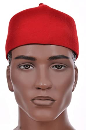 1c2b673e889 Amazon.com  Dupsie s Red African Cap Igbo Ozo Hat  Clothing