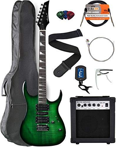 Vault RG1-E Nebula Green Burst Electric Guitar with Ovangkol Neck Bundle with Gig Bag, 10w Amp, Strap, Tuner, Strings, Instrument Cable, Capo, and Picks