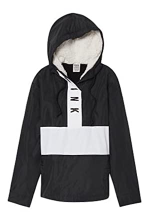 62c1fd001d Image Unavailable. Image not available for. Color  Victoria s secret Pink  Sherpa Lined Hood Anorak Windbreaker Jacket Med Large Color Black