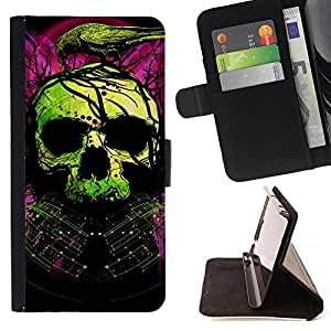 For Apple Iphone 4 / 4S Skull Green Purple Death Raven Tattoo Beautiful Print Wallet Leather Case Cover With Credit Card Slots And Stand Function