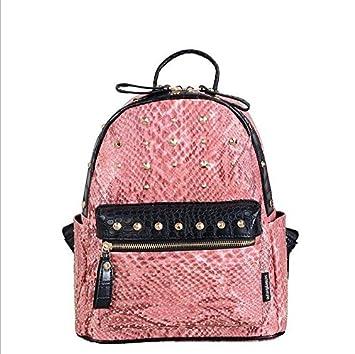 972167b7b59c16 Angei Korean version of Rucksack Orange Fashion Dual UMH?, Snakeskin Print  Rivet Bag Women's