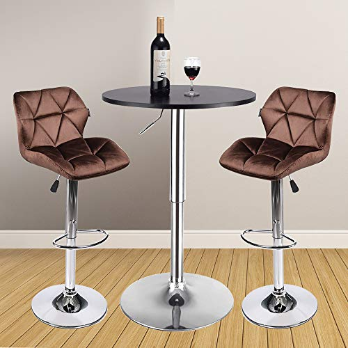 3 Pieces Bar Table Set 24 inch Round Height Adjustable Steel Dining Bistro Kitchen Table with 2 Pieces Velvet Bar Stools Brown Barstool Black Pub Table