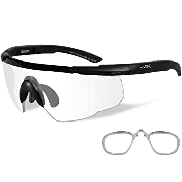 0f46486dc77 Image Unavailable. Image not available for. Color  Wiley X Saber Sunglasses  Clear Matte Black W Rx Insert 303RX