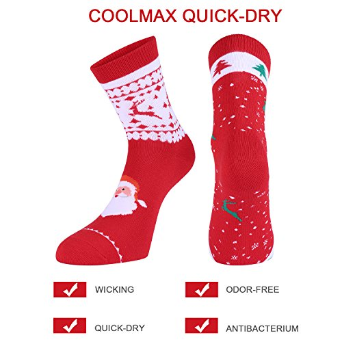 Fazitrip Socks, Women & Men Running Socks (2 Pairs), Breathable Anti-Microbial And Quick Dry Silver Coolmax Material Made Socks Ideal For Running, Cycling, Hiking (S, Christmas Red)