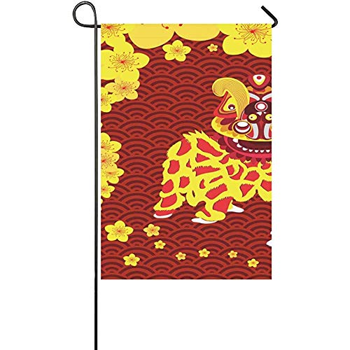 GRATIANUS Home Decorative Outdoor Double Sided Chinese New Year Card with Plum Blossom and Lion D Polyester Garden Flag Banner 12 x 18 Inch for Outdoor Home Garden Flower Pot Decor ()