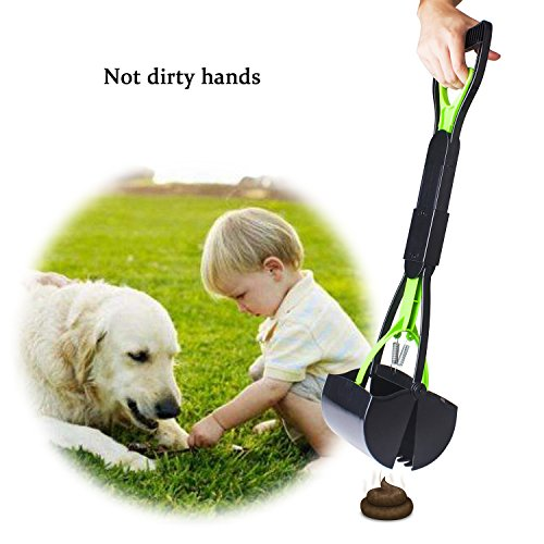 Beinhome Upgraded Puppy Pooper Scoopers Foldable 23 inches Long One-Hand Use Dog Poop Scooper with Waste Bags Removal Pet Jaw Scoop Design by Beinhome