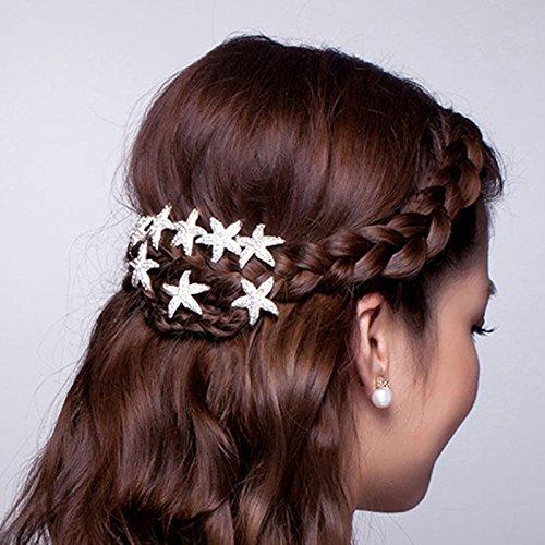 20 Pieces Bride Rhinestone Starfish Hair Pin for Beach Themed Wedding, Hair Stick Women Hair Accessories Hairpiece (Beach Themed Wedding Jewelry)