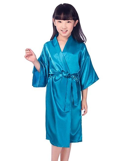 MISSMAOM Niñas Casual Vintage Retro Satén Kimono Robe Albornoz de Seda de Moda para Fiesta de SPA Regalo de cumpleaños de la Boda: Amazon.es: Ropa y ...