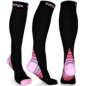 Physix Gear Compression Socks for Men & Women 20-30 mmhg, Best Graduated Athletic Fit for Running Nurses Shin Splints Flight Travel & Maternity Pregnancy - Boost Stamina Circulation & Recovery PNK LXL