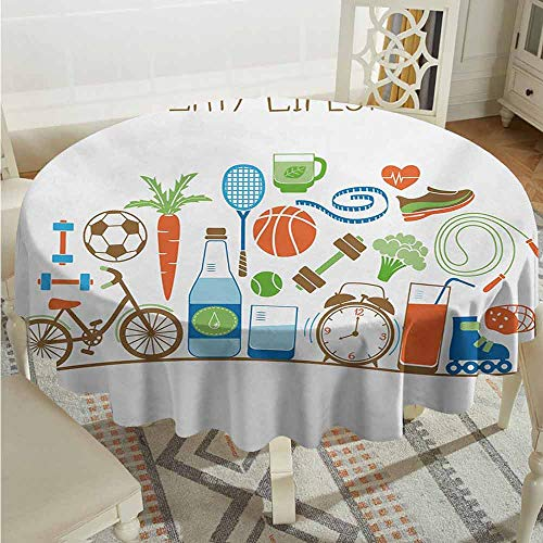 XXANS Indoor/Outdoor Round Tablecloth,Fitness,Healthcare Theme Athletic Energetic Life Routine Wellness Gym Equipment Vegetables,for Banquet Decoration Dining Table Cover,40 INCH,Multicolor (Gym Equipments For Home Price In India)