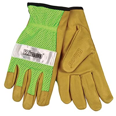 Kinco Unlined Grain Pigskin Gloves with Hi-Vis Green Mesh Back & Scotchlite