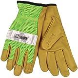 Kinco Unlined Grain Pigskin Gloves with Hi-Vis Green Mesh Back & Scotchlite
