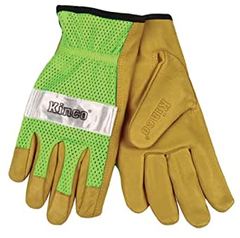 Kinco Unlined Grain Pigskin Gloves with Hi-Vis Green Mesh Back & Scotchlite (Large)
