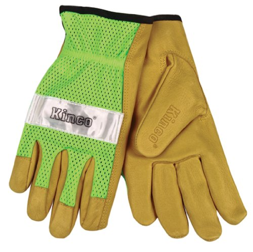 Leather Chore Glove (Kinco Unlined Grain Pigskin Gloves with Hi-Vis Green Mesh Back & Scotchlite (Small))