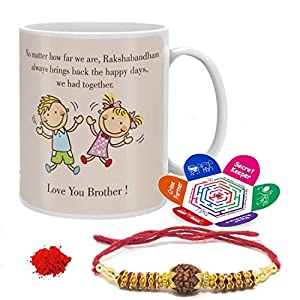 Raksha Bandhan Gift Set Of Mug 330 Ml, Crystal Rakhi, Roli, Chawal & Greeting Card