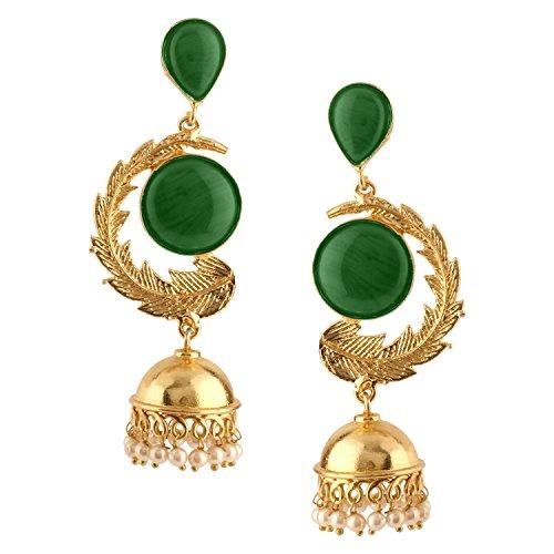 Efulgenz Indian Bollywood 14K Gold Plated Crystal Kundan Pearl Leaf Style Jhumka Jhumki Earrings Jewelry Set (Earrings Jhumka)