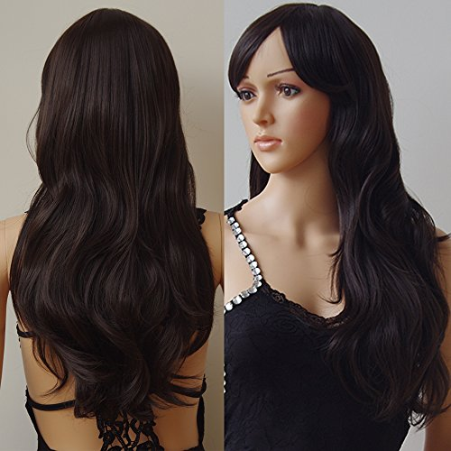 Anime Cosplay Synthetic Wig 11 Colors Japanese Kanekalon Heat Resistant Fiber Full Wig with Bangs Long Layered Curly Wavy Trendy 23'' / 58cm for Women Girls Lady Fashion and Beauty (dark brown)