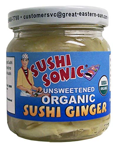 Sushi Sonic Unsweetened Organic Sushi Ginger, Ginger, 6 Ounce (Pack of 12)