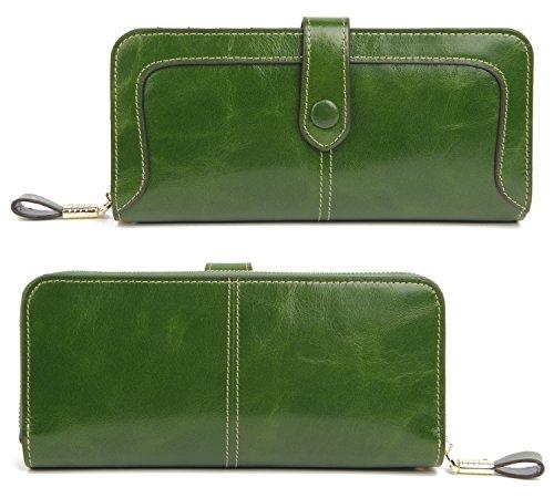515FyjgdWYL - Anvesino Women's RFID Blocking Real Leather Wallet Ladies Zipper Wristlet Clutch Green